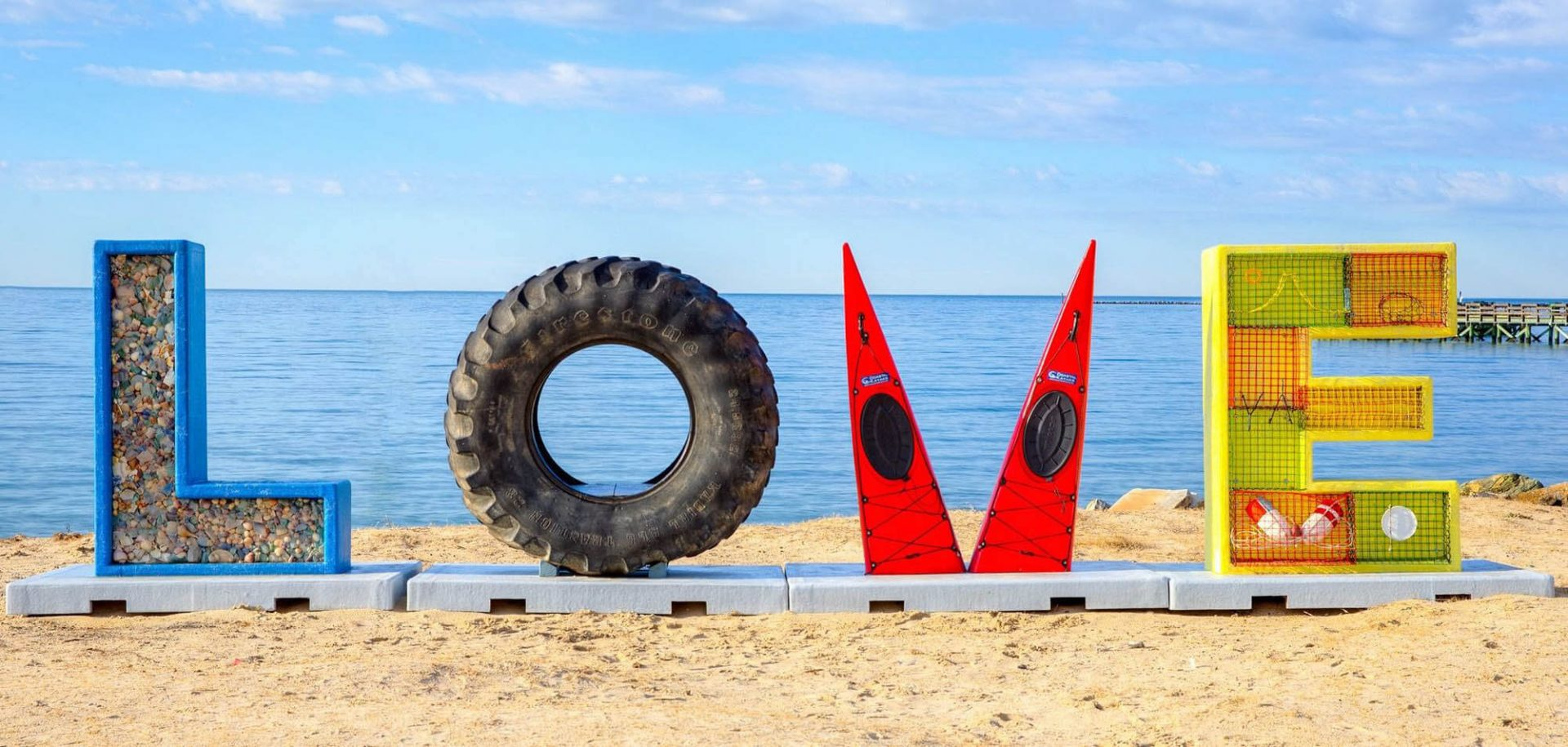 Huge LOVE sign at beach