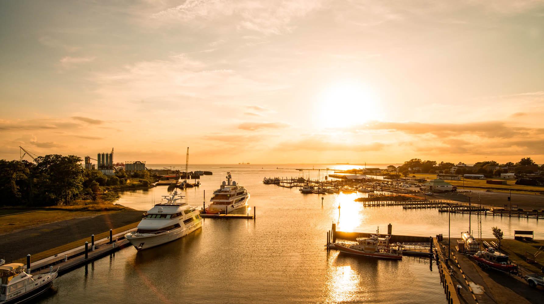 Beautiful sunset on the harbor