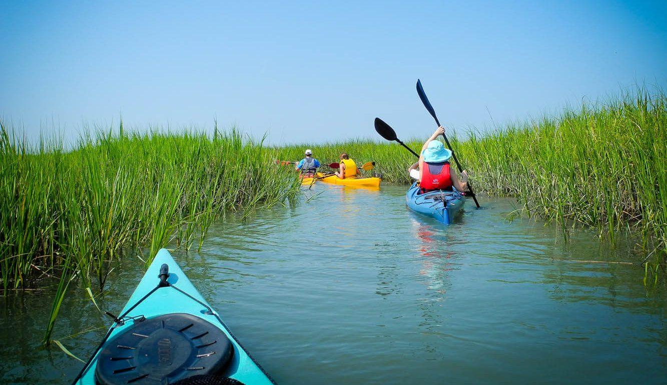 People riding kayaks on the sea