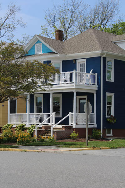 Renovated house painted in blue