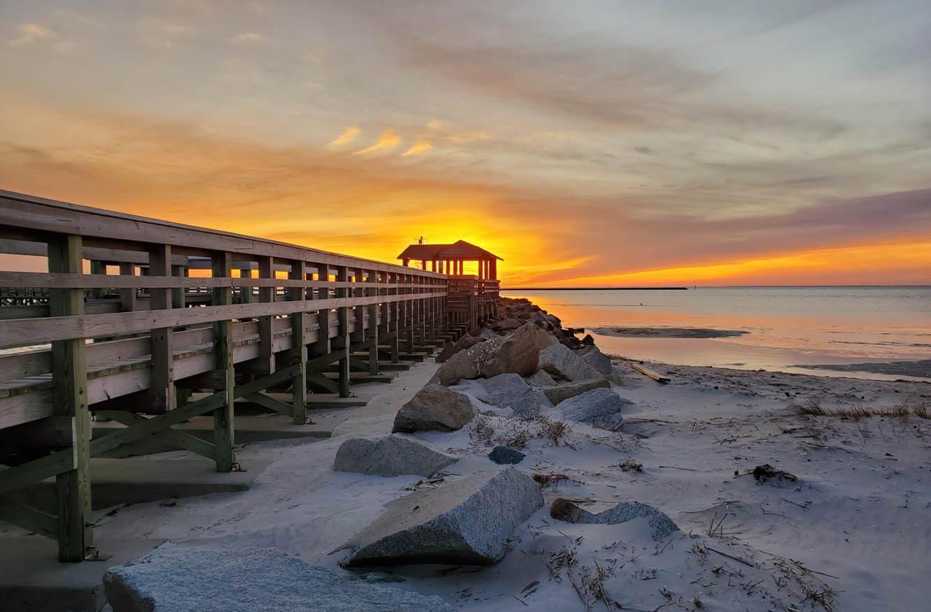Beautiful sunset at the fishing pier