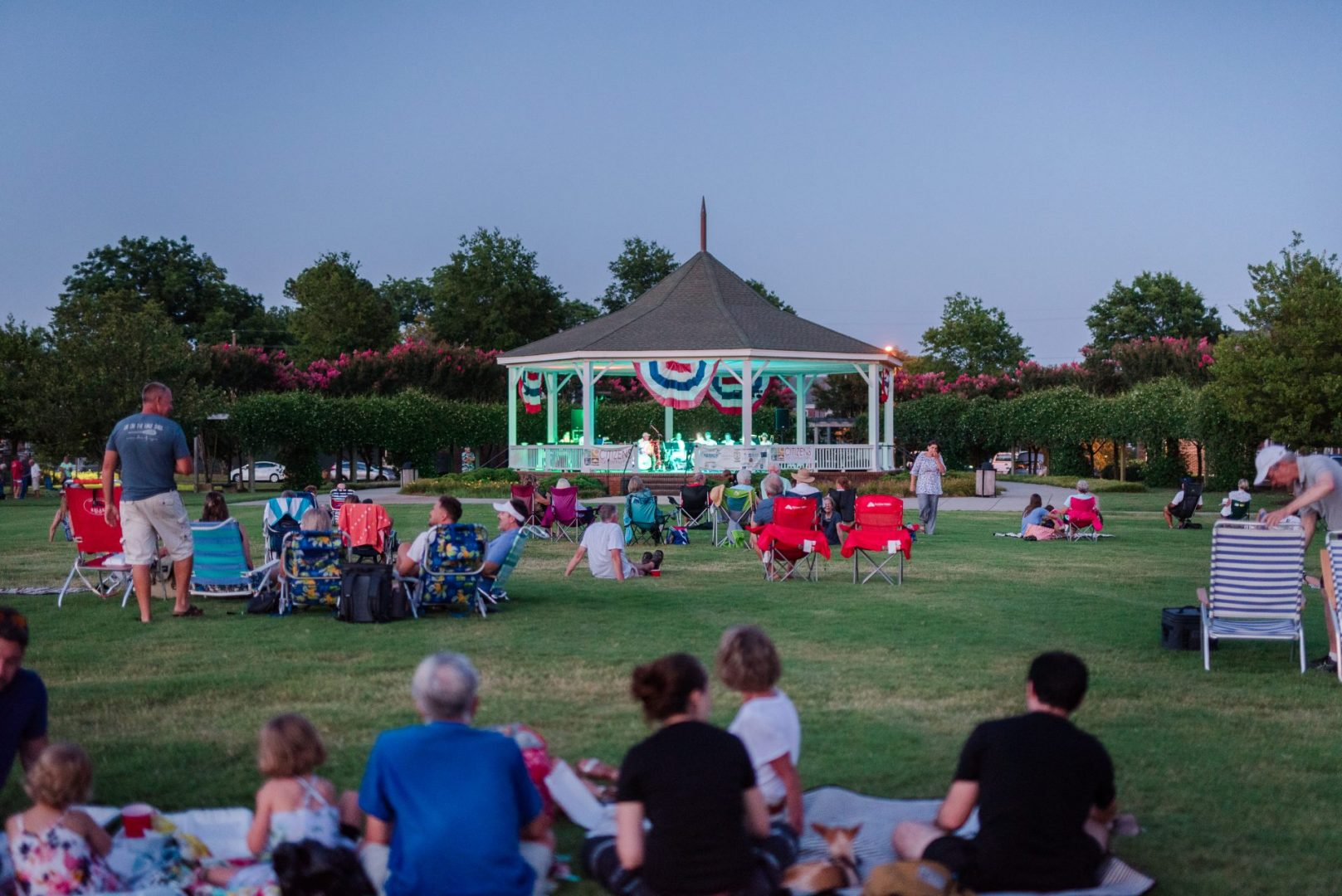 Concert-goers in Cape Charles Central Park